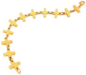 "Robert Lee Morris ICONIC Flat Cross 24K Gold Plated with Lobster Claw 7"" Bracelet"