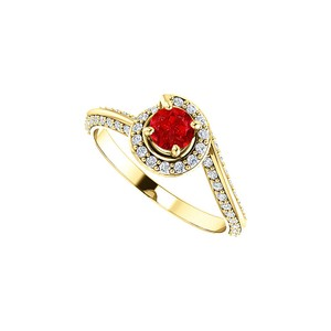 DesignByVeronica Round CZ Ruby Swirl Halo Ring in Yellow Gold Vermeil