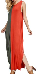 2 Toned Rust/Olive Maxi Dress by Heavenly Boutique One Arm Two-tone