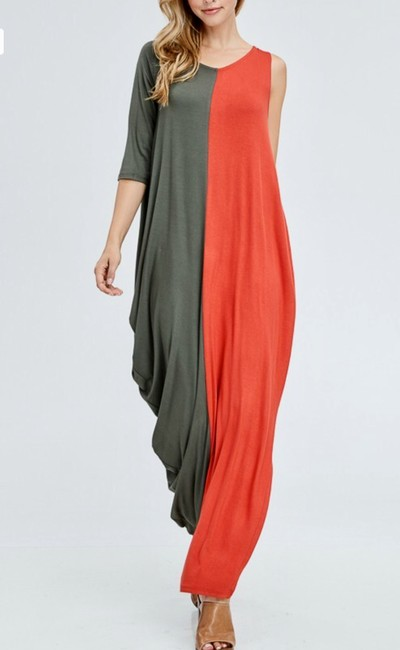 2 Toned Rust/Olive Maxi Dress by Heavenly Boutique One Arm Two-tone Image 1