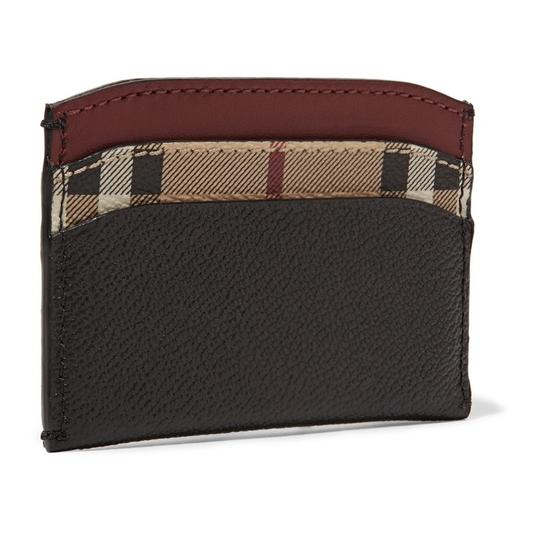 Burberry Black & Check Textured-leather and Checked Coated-canvas Cardholder Wallet Classic Image 1