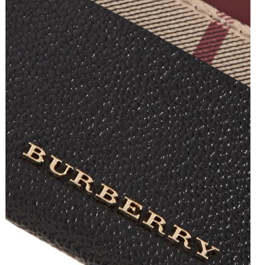 Burberry Black & Check Textured-leather and Checked Coated-canvas Cardholder Wallet Classic Image 3