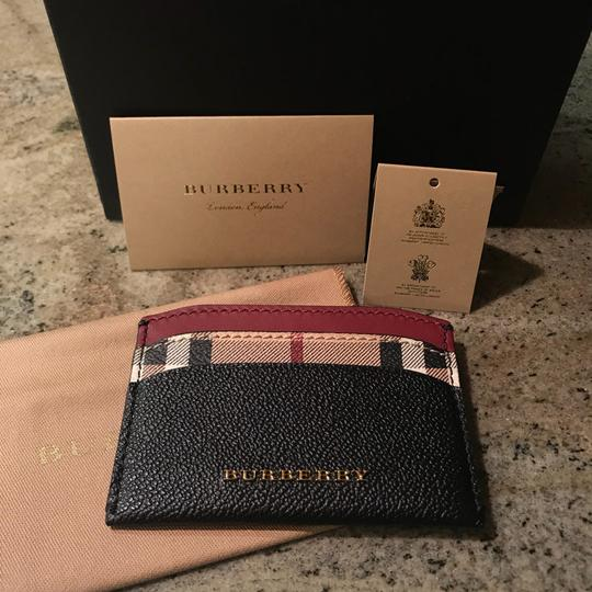 Burberry Black & Check Textured-leather and Checked Coated-canvas Cardholder Wallet Classic Image 4