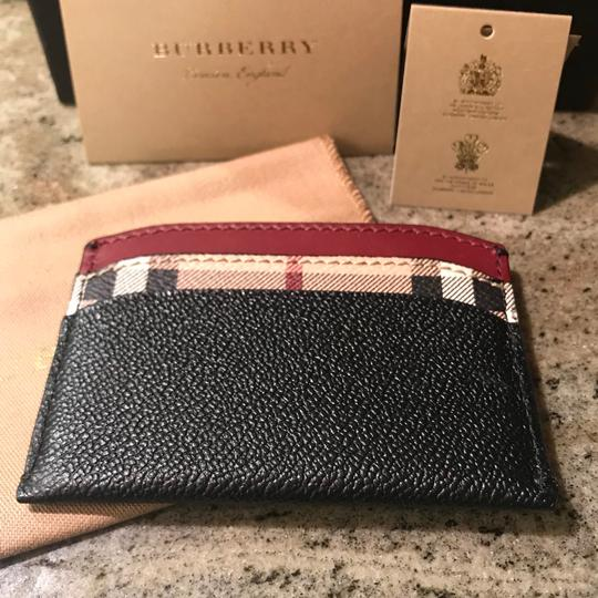 Burberry Black & Check Textured-leather and Checked Coated-canvas Cardholder Wallet Classic Image 5