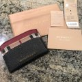 Burberry Black & Check Textured-leather and Checked Coated-canvas Cardholder Wallet Classic Image 6