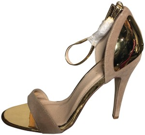 VENUS Taupe suede with gold details Pumps