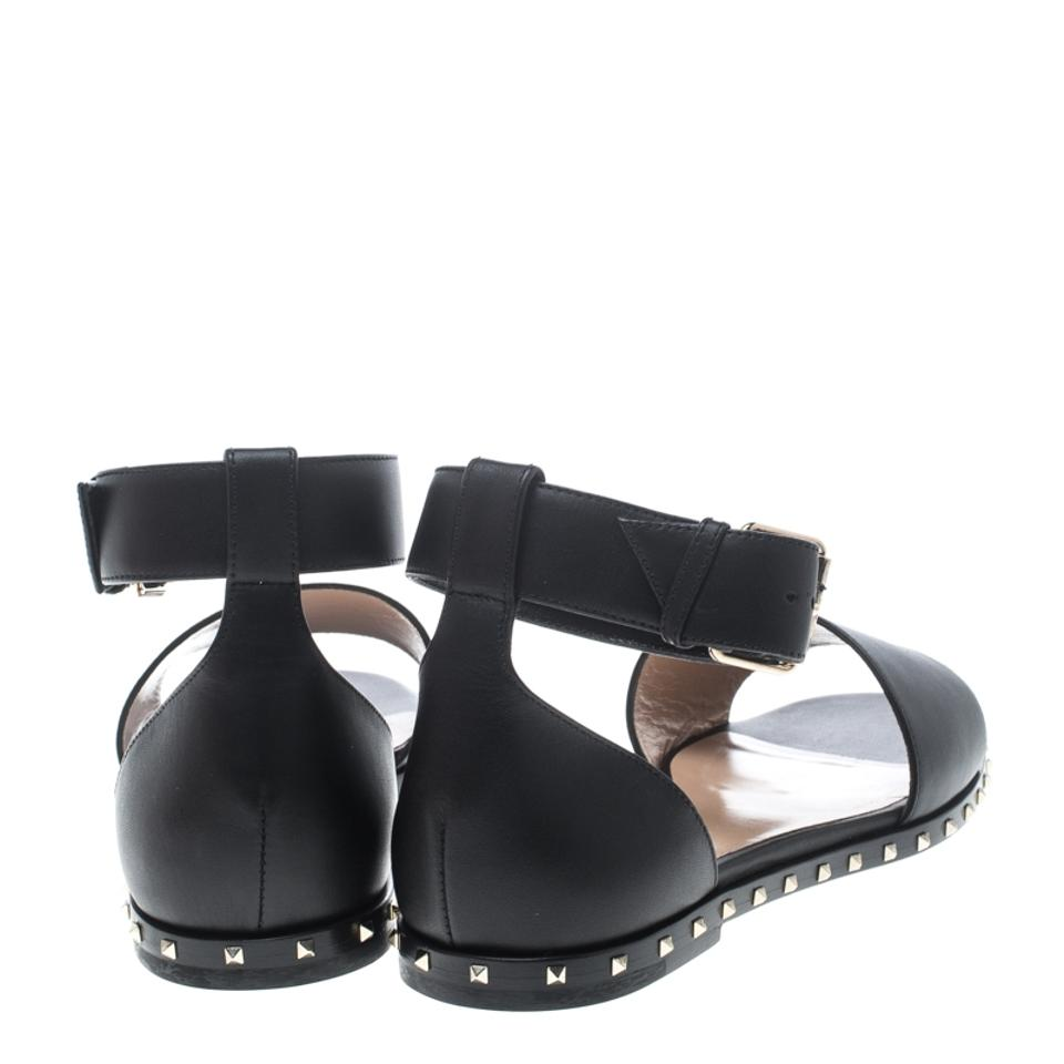 e70cfc9f0eca Valentino Black Leather Soul Rockstud Ankle Strap Flat Sandals Size EU 37.5  (Approx. US 7.5) Regular (M