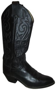 Justin Leather Western Cowboy 002 Usa black Boots