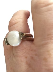 Cultured Freshwater Coin Pearl and Sterling Silver Ring