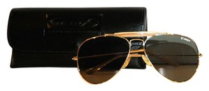 Protective Optics NWOT Protective Optics Gold Rim Aviator Sunglasses With Case, Vintage