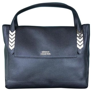 Versace Collection Leather Arrow Tote in Black