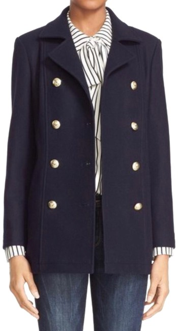 Item - Blue Double Breasted Wool Coat Size 12 (L)