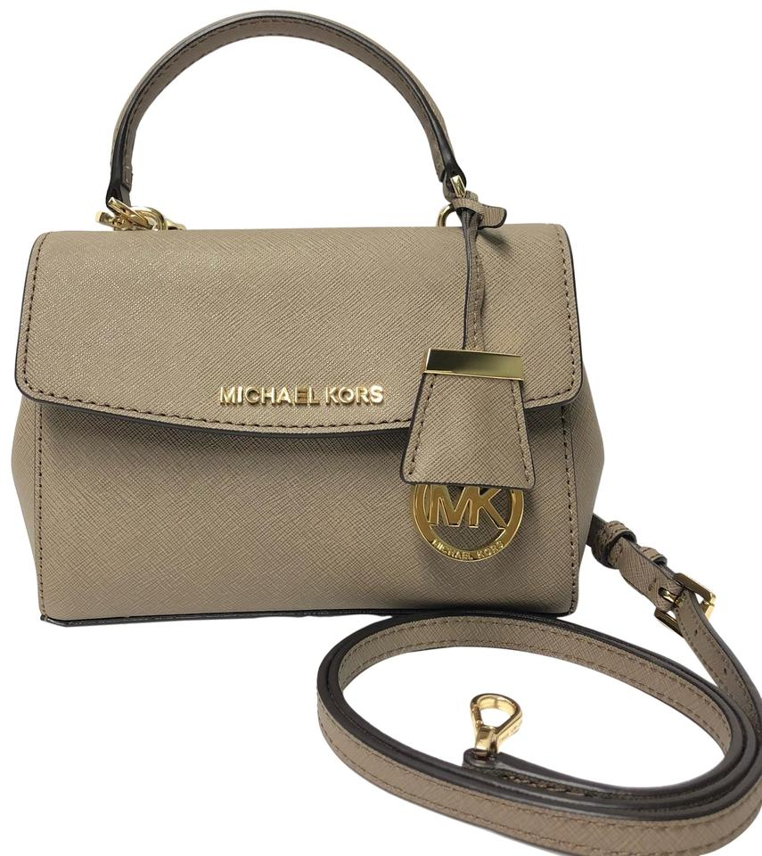 951dcc084025 MICHAEL Michael Kors Saffiano Leather Gold Tone Hardware Taupe Extra Small Ava  Cross Body Bag Image ...