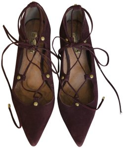 Halogen Pointed Toe Lace Up Suede Work Burgundy Flats