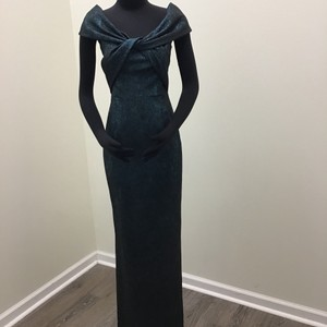 Teri Jon Metallic Teal Polyester Polyamide 77081 Formal Bridesmaid/Mob Dress Size 2 (XS)