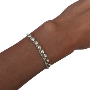 Ettika Ettika White Crystal Chain and Leather Bracelet