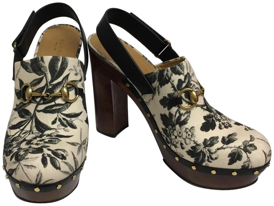 34c38bdd8 Gucci Cream Horsebit Black and Floral Slingback with Gold Mules/Slides