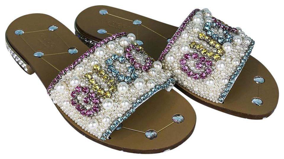 291e4a2bc87 Gucci White Lupe Leather Crystal   Pearl Lupe Women s Sandals Size ...