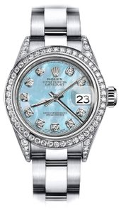 Rolex Rolex Baby Blue Pearl TR 26mm Datejust Stainless Steel Pave Diamond