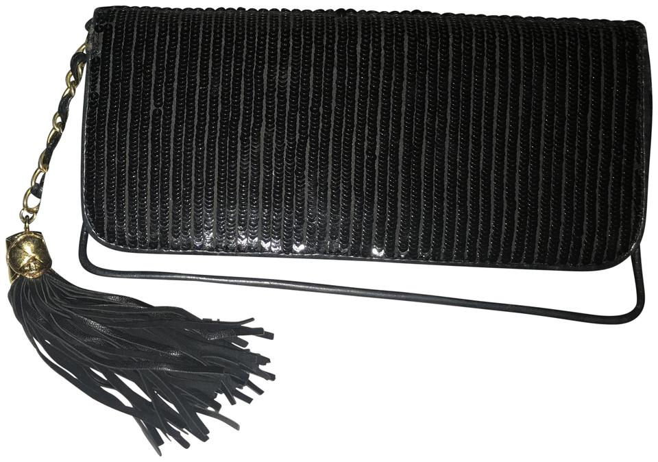 a9f96021438d8b Chanel Quilted Vintage Embellished Tassel Black and Grey Fabric Sequins  Clutch