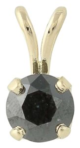 Other Black Diamond Solitaire Pendant - 14k Yellow Gold Round Cut N5242