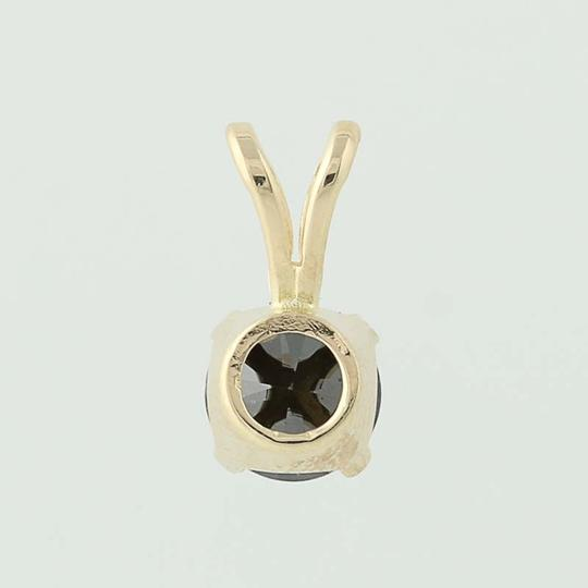 Other Black Diamond Solitaire Pendant - 14k Yellow Gold Round Cut N5242 Image 1