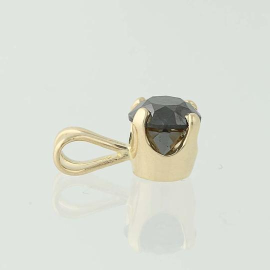 Other Black Diamond Solitaire Pendant - 14k Yellow Gold Round Cut N5242 Image 2