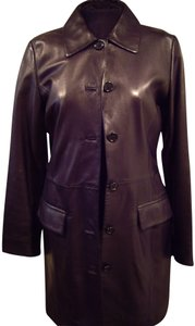 Brooks Brothers Soft Leather Long Trench Coat