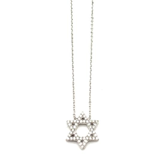 Other (002) 14K White Gold Diamond Star Necklace Image 0