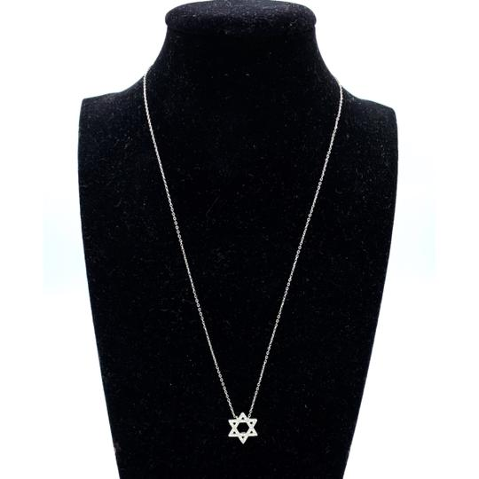 Other (002) 14K White Gold Diamond Star Necklace Image 1