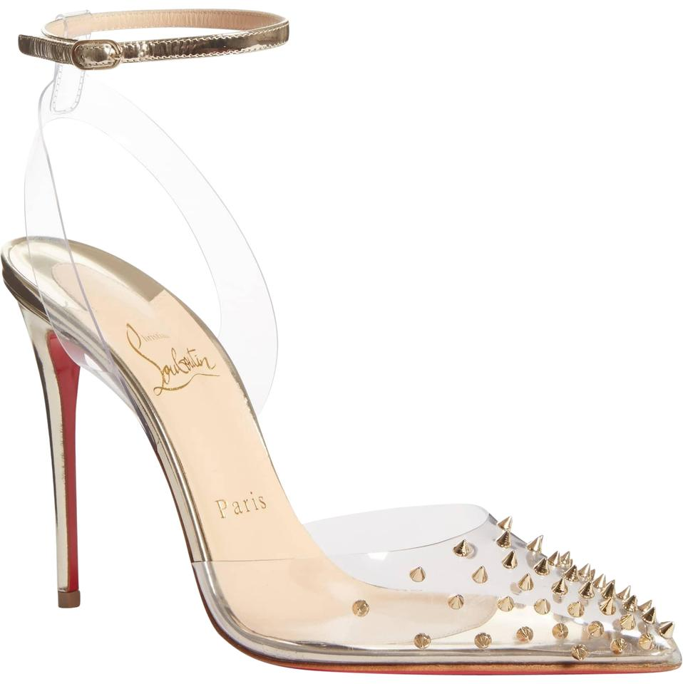 be0e99728710 Christian Louboutin Gold New Spikko 100 Studded Ankle Clear 37 Pumps ...