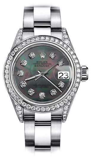 Preload https://img-static.tradesy.com/item/24145629/rolex-stainless-steel-black-pearl-26mm-datejust-genuine-diamond-lugs-and-bezel-watch-0-1-540-540.jpg