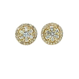 Other (003) 14K Yellow Gold Diamond Round Stud Earrings