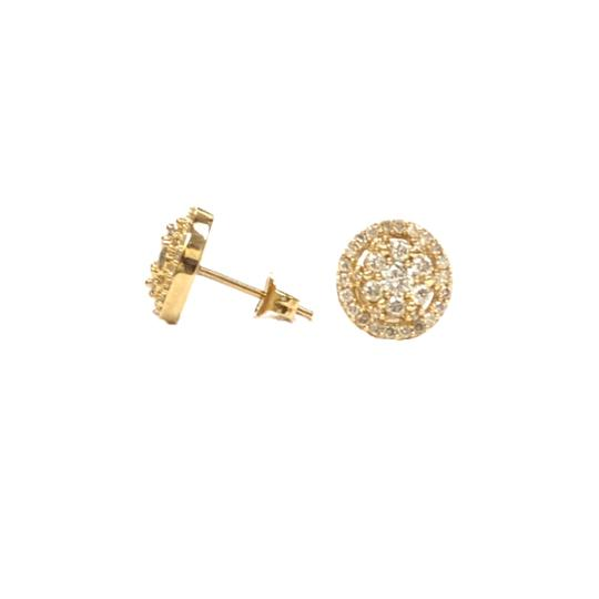 Other (003) 14K Yellow Gold Diamond Round Stud Earrings Image 1