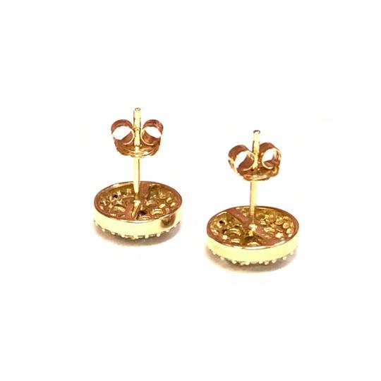 Other (003) 14K Yellow Gold Diamond Round Stud Earrings Image 2