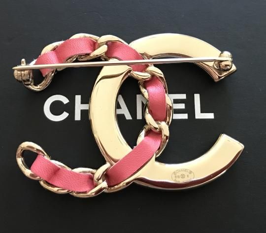 Chanel Large Pink/Gold Crystal CC Logo Metal Brooch Pin Image 3