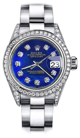 Preload https://img-static.tradesy.com/item/24145889/rolex-stainless-steel-blue-treated-26mm-datejust-pave-diamonds-on-shoulders-and-bezel-watch-0-1-540-540.jpg