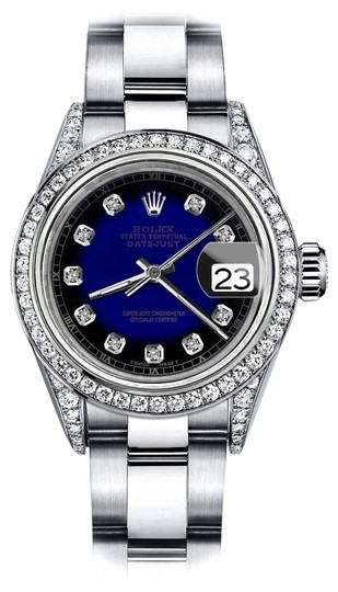 Preload https://img-static.tradesy.com/item/24145894/rolex-stainless-steel-blue-vignette-rt-26mm-datejust-pave-diamond-on-shoulders-and-bezel-watch-0-1-540-540.jpg