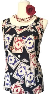 Chanel Couture Rare 2 PIECE-CHANEL Silk Top & Braid Jacket Ivory, Blue, White, Red Jacket