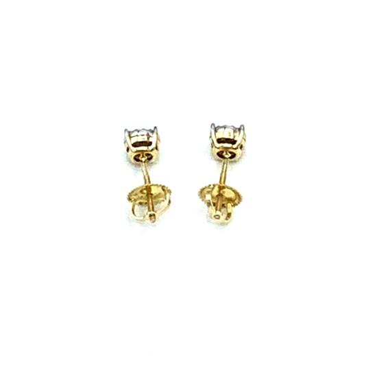 Other (004) 14K Yellow Gold Diamond Stud Earrings Image 3