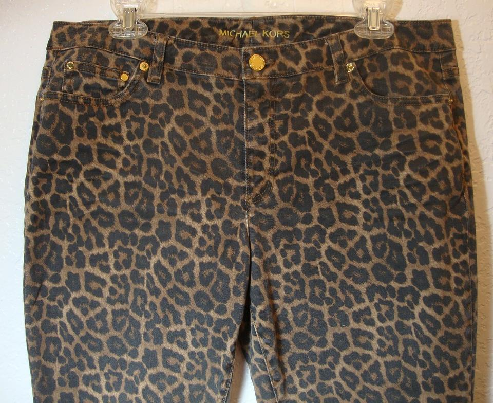 23bbaa59c6a4 Michael Kors Leopard 12 Stretchy Skinny Jeans-Distressed Image 5. 123456
