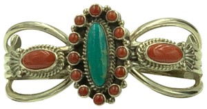 Running Bear 925 Sterling Silver Turquoise/Coral Cuff Bangle
