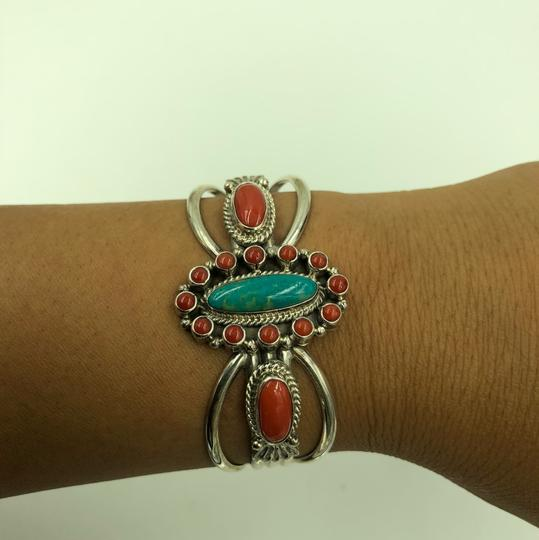 Running Bear 925 Sterling Silver Turquoise/Coral Cuff Bangle Image 1