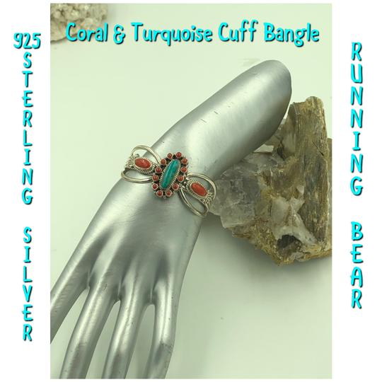 Running Bear 925 Sterling Silver Turquoise/Coral Cuff Bangle Image 2