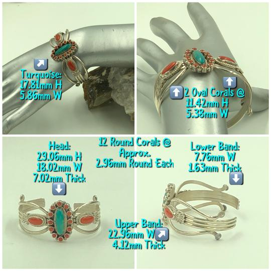 Running Bear 925 Sterling Silver Turquoise/Coral Cuff Bangle Image 3