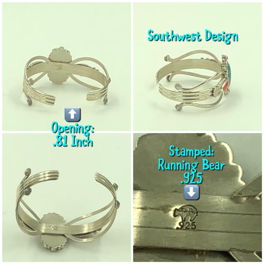 Running Bear 925 Sterling Silver Turquoise/Coral Cuff Bangle Image 5