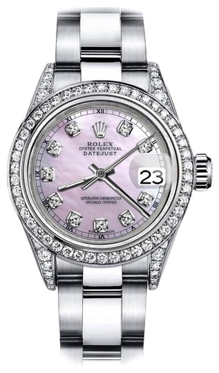 Preload https://img-static.tradesy.com/item/24146196/rolex-stainless-steel-pink-pearl-track-26mm-datejust-diamond-lugs-and-bezel-watch-0-1-540-540.jpg