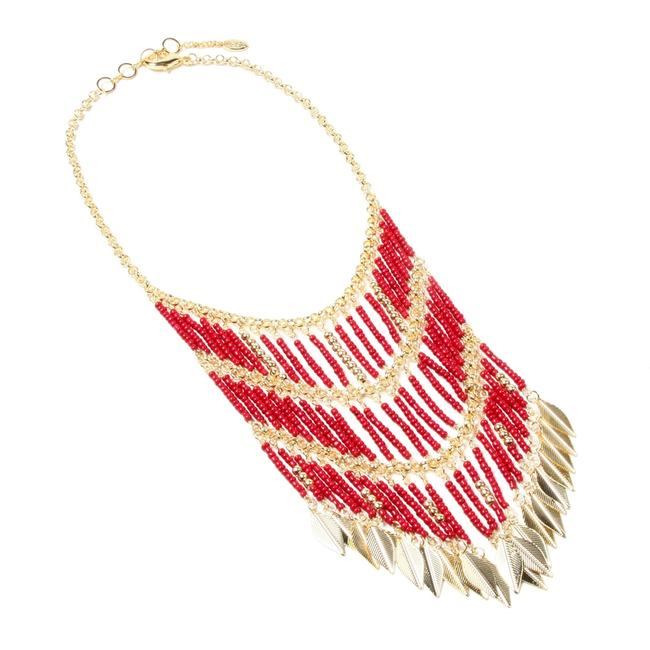 Item - Ruby Red Gold Eastern Vibe Beaded Necklace