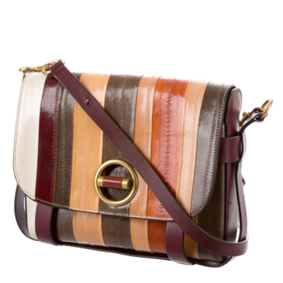 80938594138 Tory Burch Alastair 32547 Eel Striped Multicolor Leather Cross Body ...