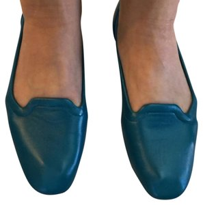 Hermès Leather Ballet Flats Comes With Dust Bag teal Flats